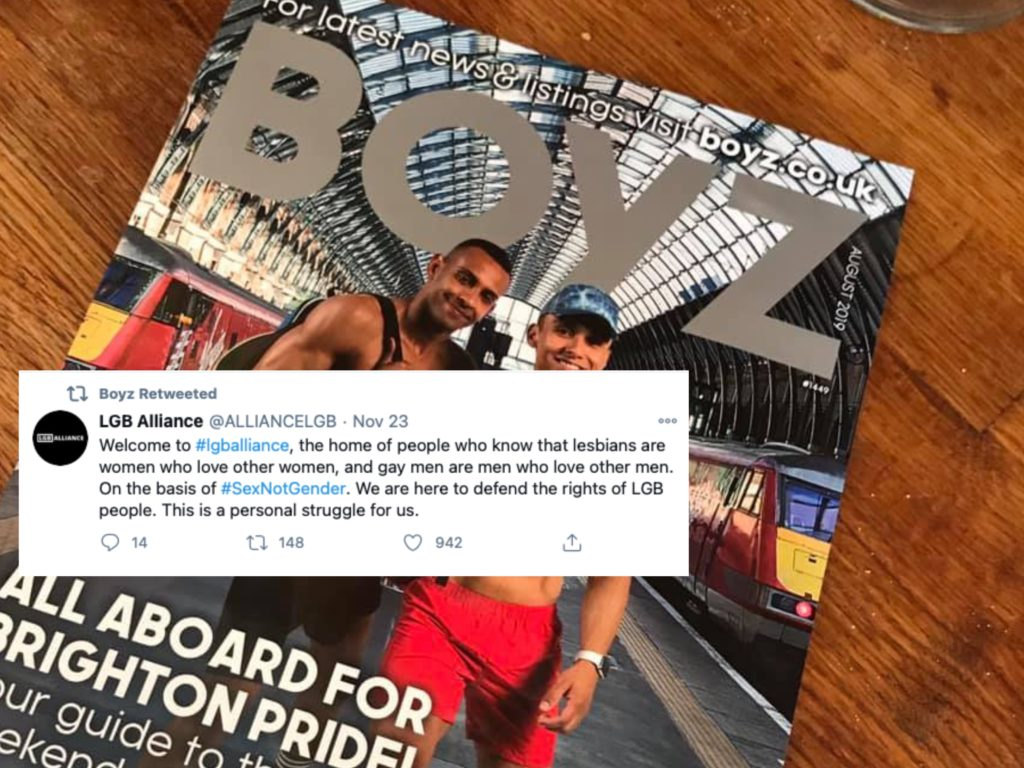 Boyz, a London, England, magazine for queer men, drew backlash for its support of the LGB Alliance. (Facebook/Twitter)