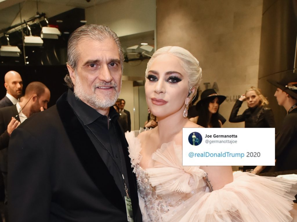 Joe Germanotta (L) endorsed Donald Trump just days after the president dissed his daughter, Lady Gaga. (Getty/Twitter)