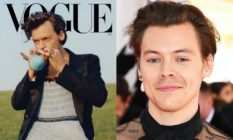 Harry Styles in a tuxedo jacket and ballgown on the cover of Vogue, sucking a balloon