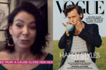 Harry Styles' mother Anne Twist (L) defended her son for wearing a ballgown for America Vogue. (Screen capture via ITV/Vogue)
