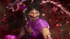 Mileena, wearing a purple top bearing sharp, alien teeth