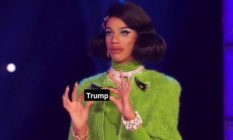 Naomi Smalls holding Manilla Luzon's lipstick on Drag Race, but it says Trump instead