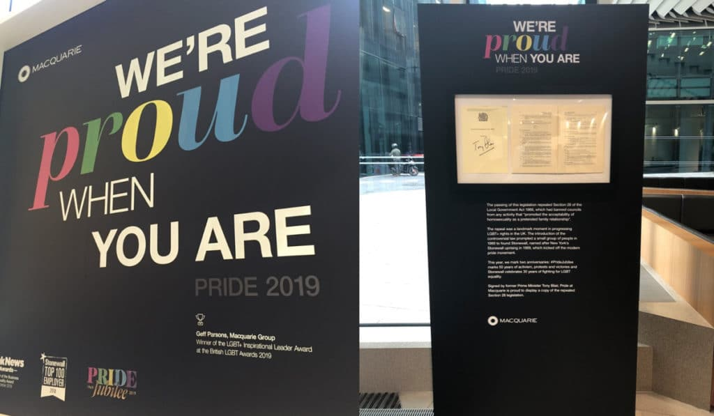 A lobby window (L) and a display detailing how Section 28 was repealed at Pride at Macquarie 2019. (Supplied)