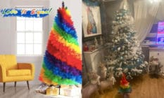 A Facebook advert for a rainbow Christmas tree, and the product in real life compared to a 6ft Christmas tree