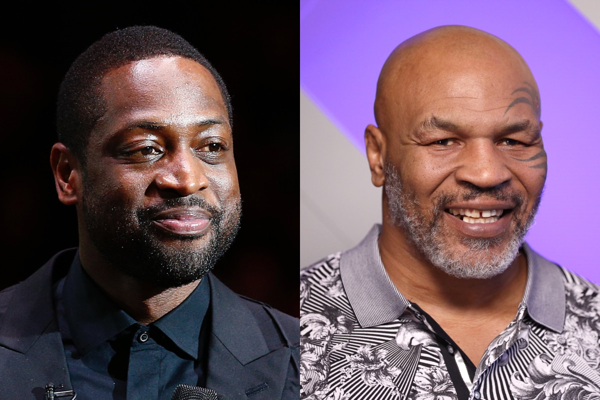 Dwyane Wade (L) praised Mike Tyson for grilling a rapper who took issue with his daughter being trans. (Getty)
