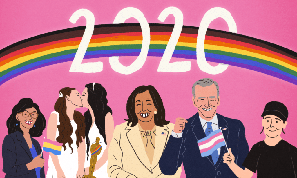 An illustration of Layla Moran, two lesbian brides kissing, Kamala Harris and Joe Biden, and Elliot Page, with a rainbow above their heads and the letters 2020