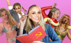 Britney Spears in a bikini, in a schoolgirl outfit, reading Marx, in a red catsuit and with a snake wrapped around her neck