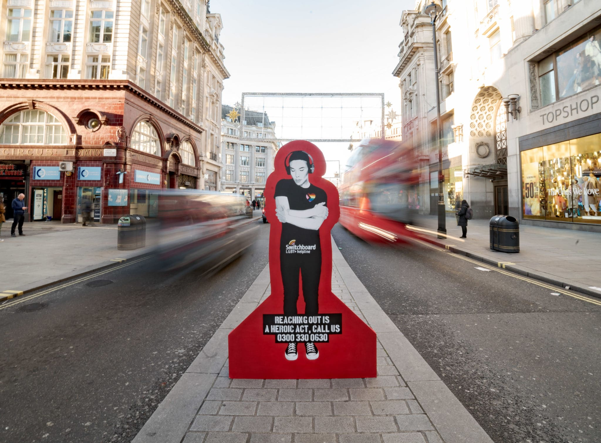 Christmas: Switchboard has teamed up with street artist Pegasus to create an artwork promoting the helpline number over the holidays.