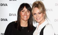 Lesbian Emmerdale star Michelle Hardwick (right) with her wife Kate Brooks at the DIVA Magazine Awards at the The Waldorf Hilton, Aldwych, London