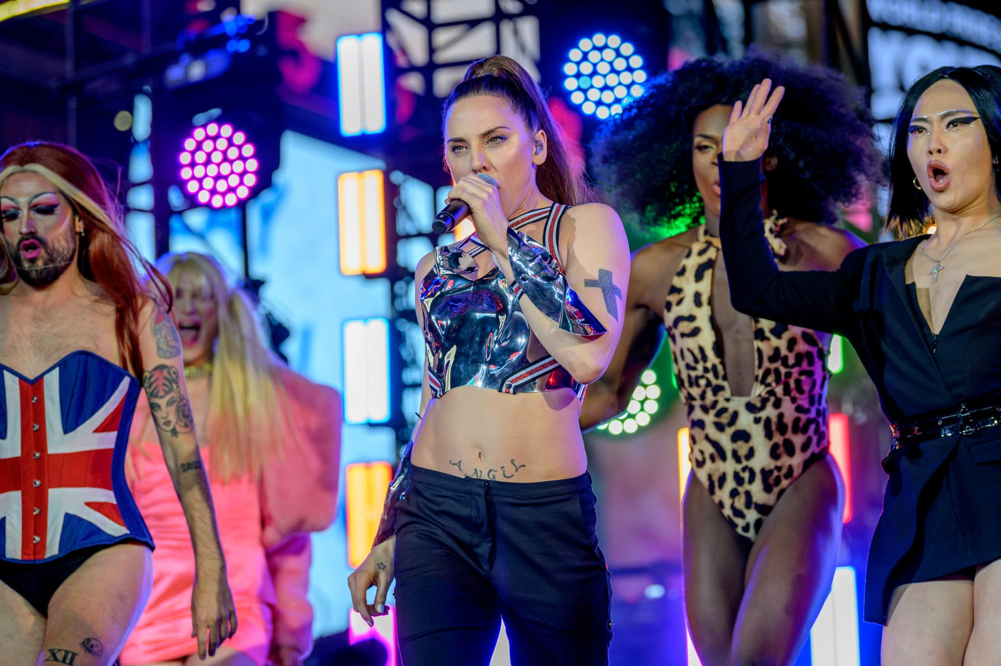 Melanie C with drag queens dressed as the Spice Girls