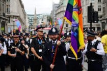 Members of the police march at Pride in London 2019