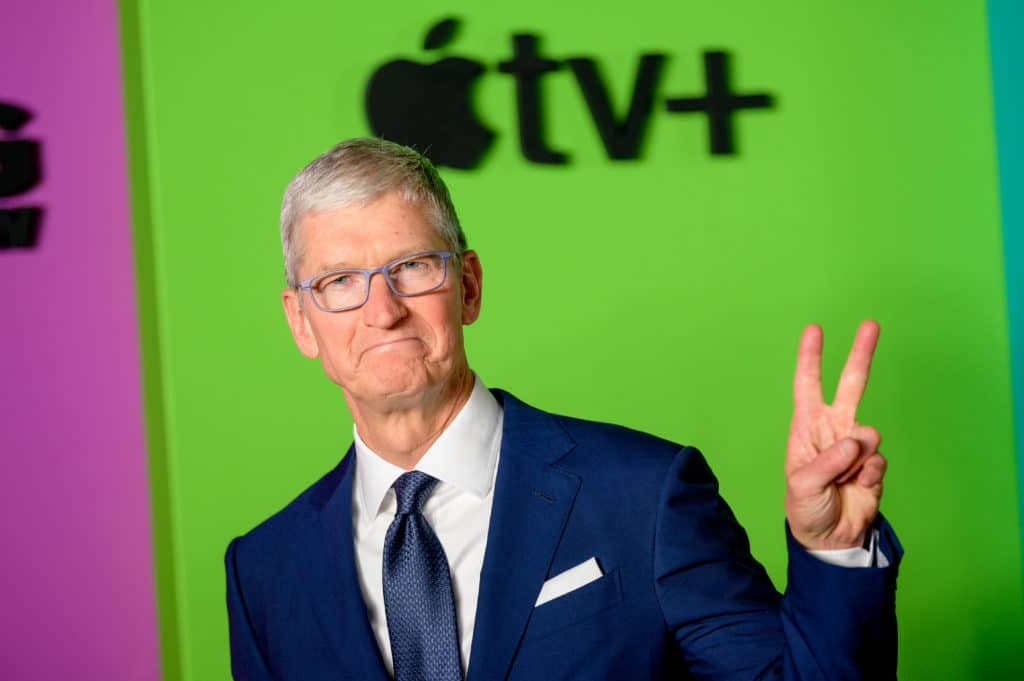 Apple CEO Tim Cook attends an Apple TV+ event in 2019