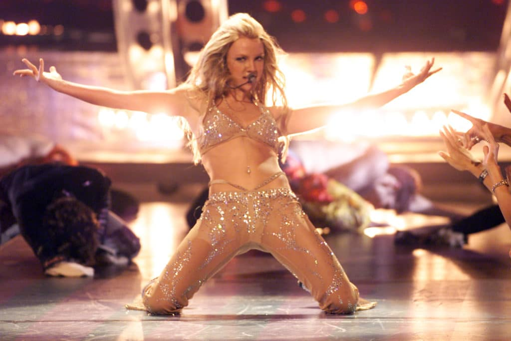 Britney Spears performing onstage at the 2000 MTV Video Music Awards