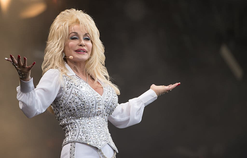 Dolly Parton performs on the Pyramid Stage during Day 3 of the Glastonbury Festival at Worthy Farm on June 29, 2014