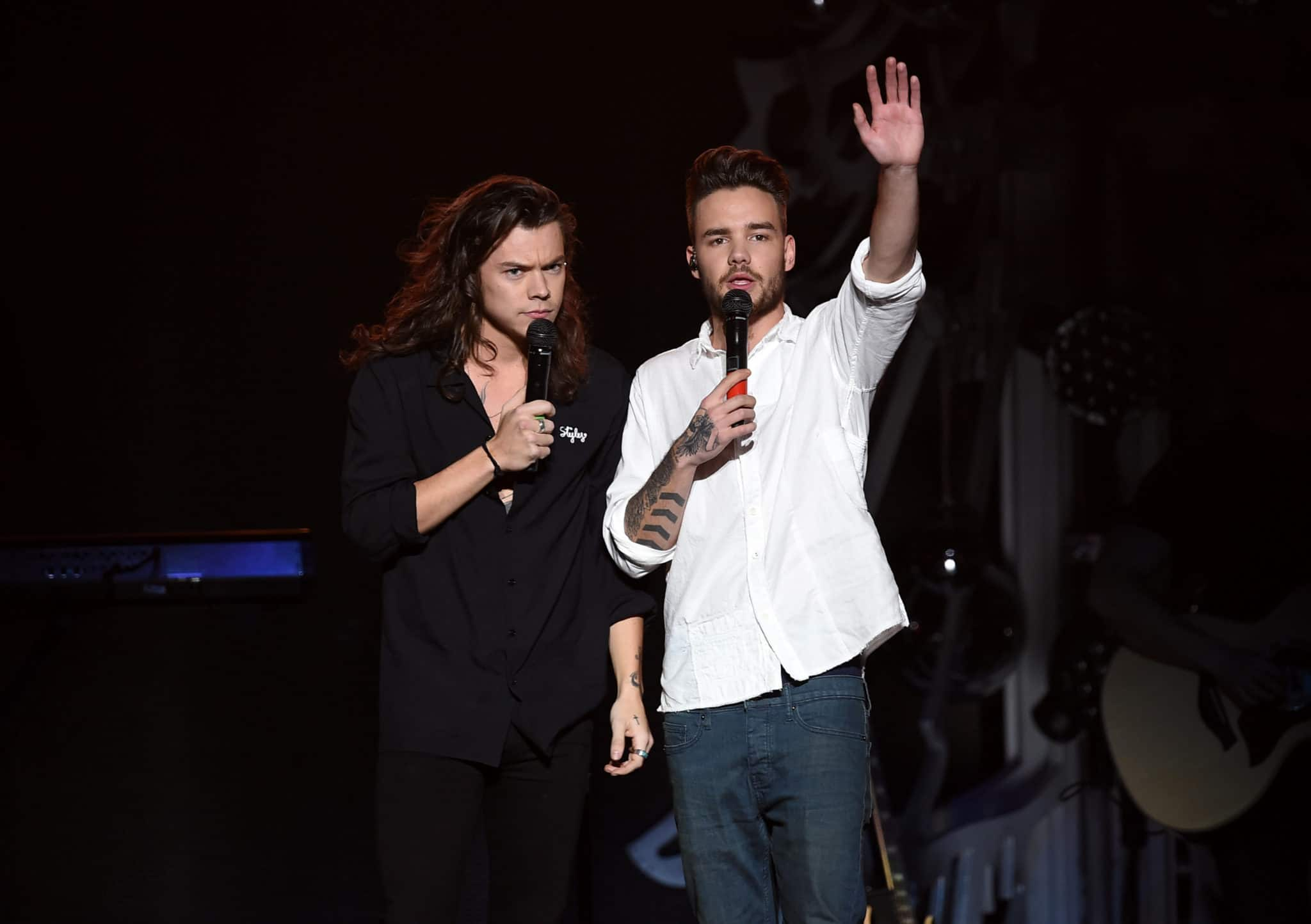 Harry Styles and Liam Payne of One Direction perform in 2015