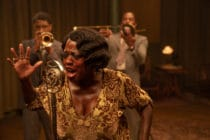 Chadwick Boseman as Levee, Viola Davis as Ma Rainey and Colman Domingo as Cutler in a recording studio