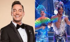 Two images: Craig Revel Horwood smiling in a tuxedo, Strictly pros Johannes and Gorka in sequinned jumpsuits and matching headpieces