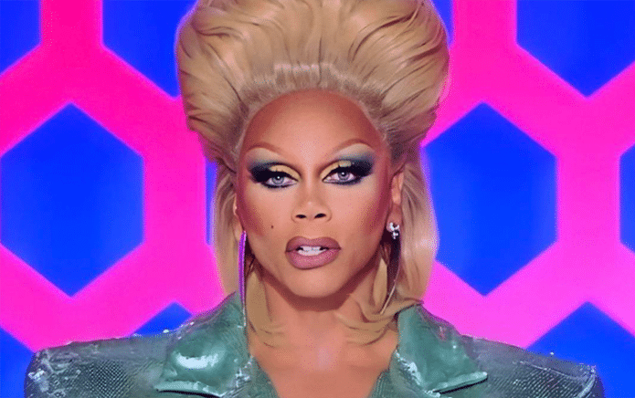 RuPaul in a mullet-style wig