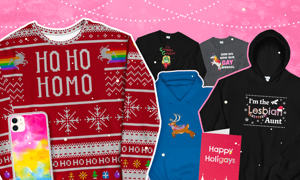 """Christmas jumper with """"Ho Ho Homo"""" written on the front, pan Pride flag phone case, hoodies and sweaters with reindeer, unicorns and """"Gritney Grinch"""" on/"""