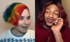 HJ Farr, their short bobbed hair dyed to look like a Pride flag, on a Zoom call with Deity Blair, who wears a red jacket and matching red hair