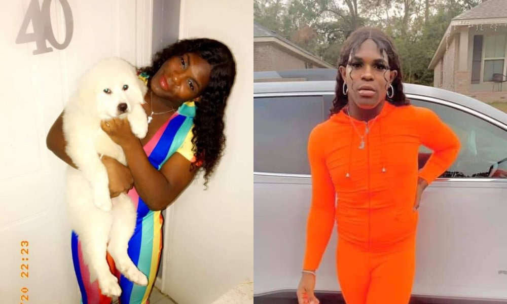 Two photographs of Bella Pugh, one in a rainbow jumpsuit inside and another in an orange jumpsuit outside