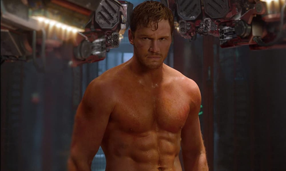 Chris Pratt, shirtless, in Guardians of the Galaxy