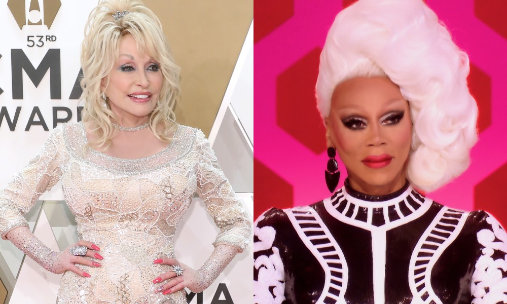 Two images: Dolly Parton on a red carpet in a long-sleeved white gown, RuPaul on the net of Drag Race looking bemused.