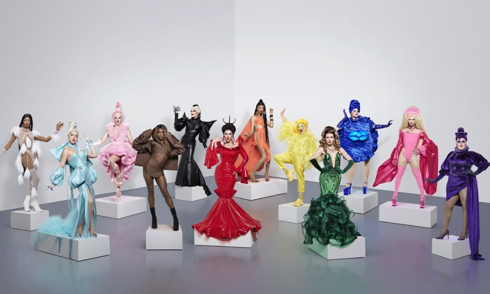 Drag Race UK season 2 queens, each dressed in one of the colours of the Progress Pride flag
