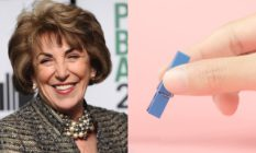 Edwina Currie and fingers holding a clothes peg