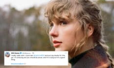 Taylor Swift with her hair in a ponytail, wearing a checked coat, looking off into nature, with a tweet imposed on it