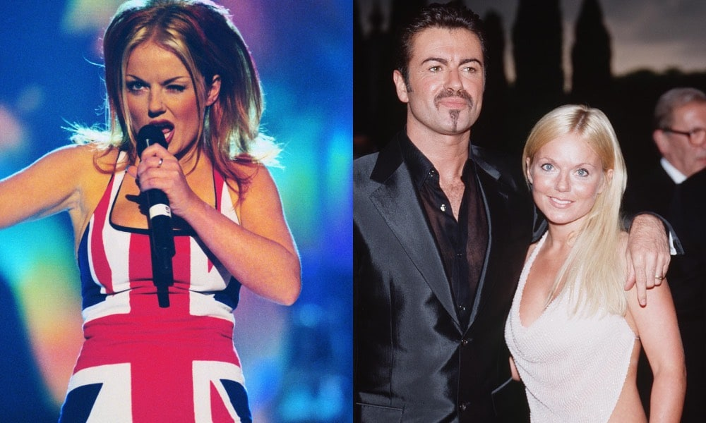 Geri in her famous Union Jack dress / posing with George Michael