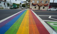 Rainbow crossing in Long Beach, California