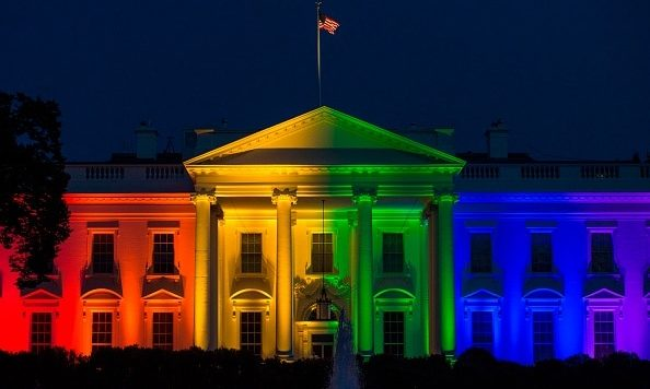The White House, lit in the rainbow flag.