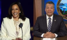 Kamala Harris at a podium in a white suit and pussy bow blouse / Alex Padilla sitting behind a desk in a suit