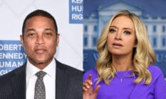 Don Lemon (L) in a suit and tie and Kayleigh McEnany in a purple dress