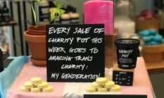 Lush display supporting trans charity My Genderation
