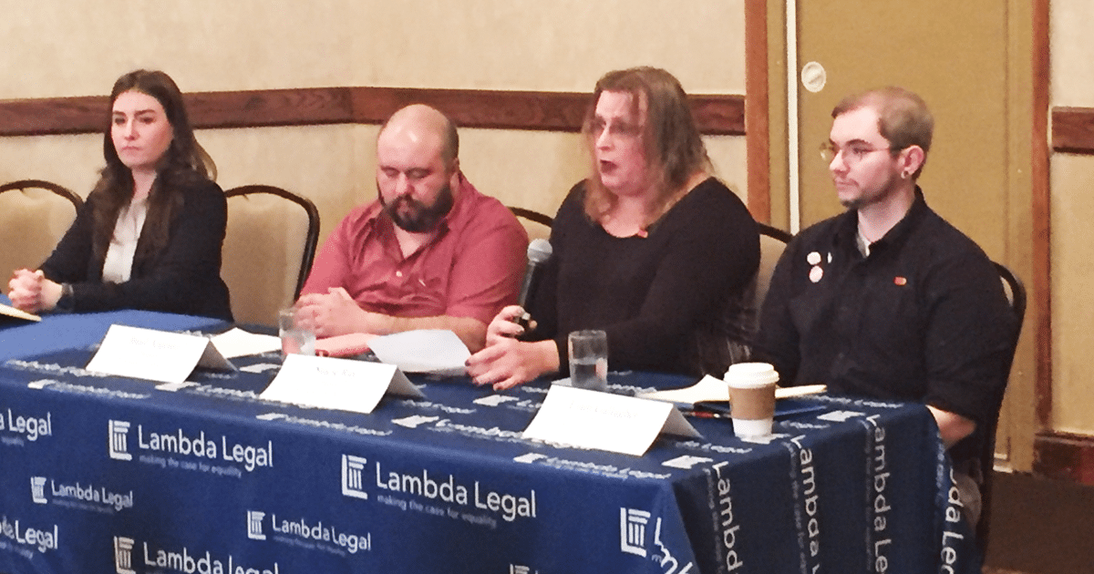 Lambda Legal fellow Kara Ingelhart, plaintiffs Basil Argento and Stacie Ray, Liam Gallagher with ACLU of Ohio