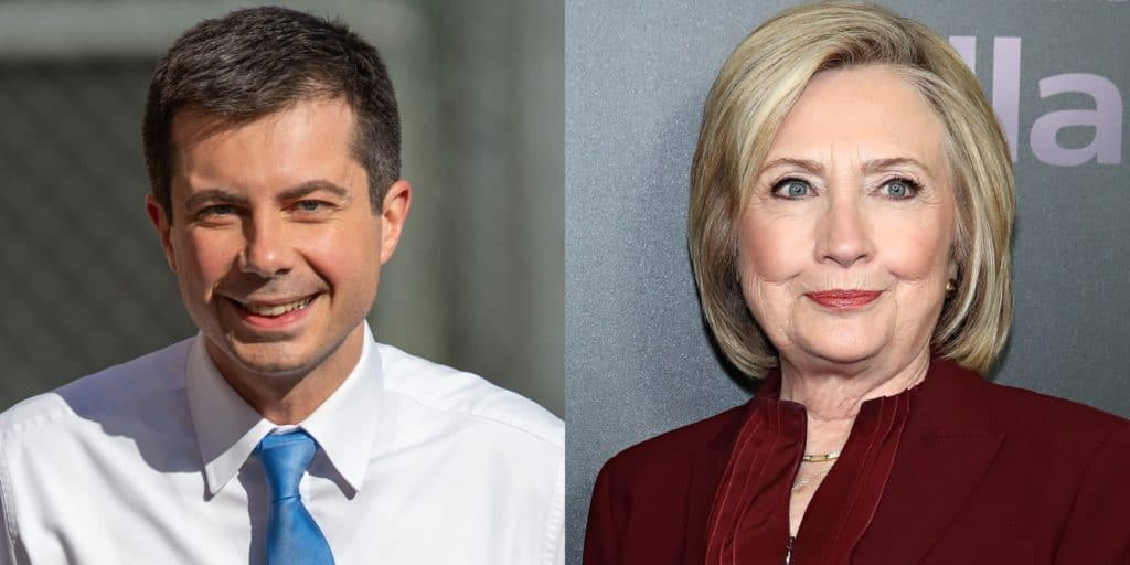 Former secretary of state Hillary Clinton shared tips with Pete Buttigieg