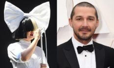 Sia wearing half-black, half-white wig and a huge white bow atop her head / Shia LaBeouf in a tuxedo