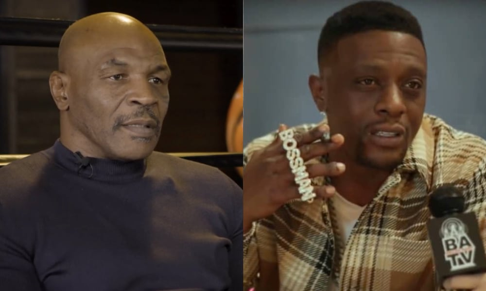 Mike Tyson in a black top and Boosie Badazz in a plaid shirt