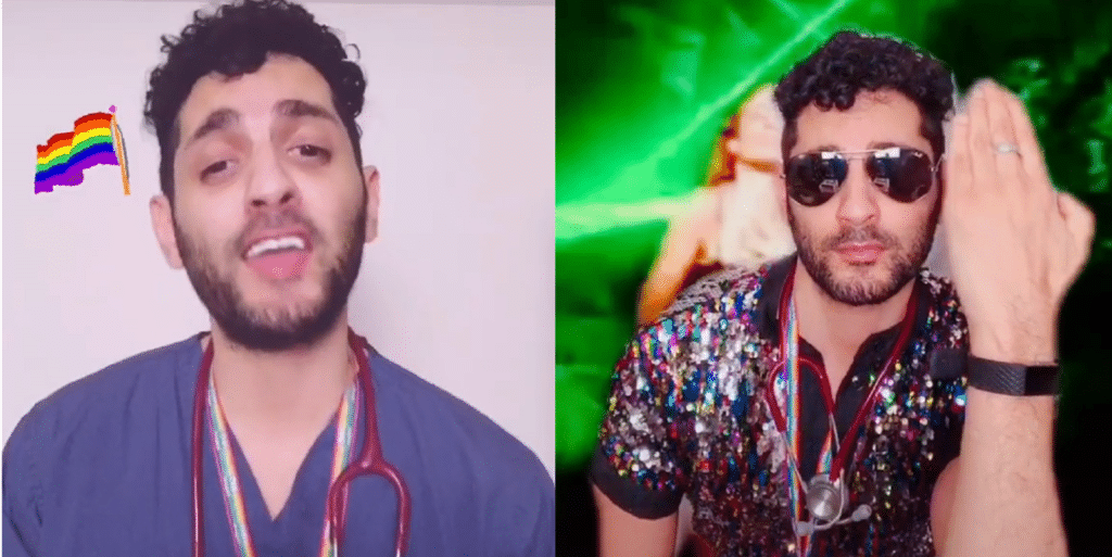 Dr Mark Perera, who works as an NHS doctor in east London, has taken to TikTok as @DoctorGayUK