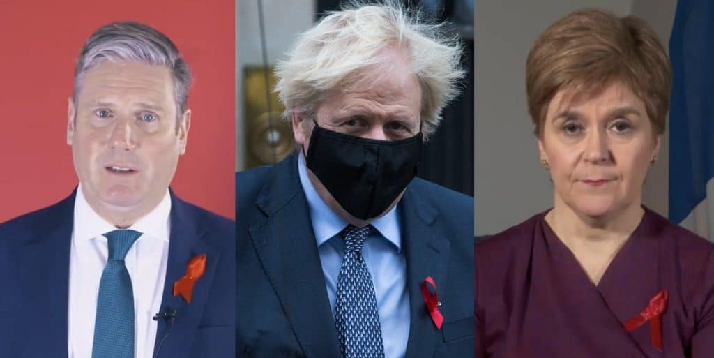 Keir Starmer, Boris Johnson and Nicola Sturgeon led tributes on World AIDS Day
