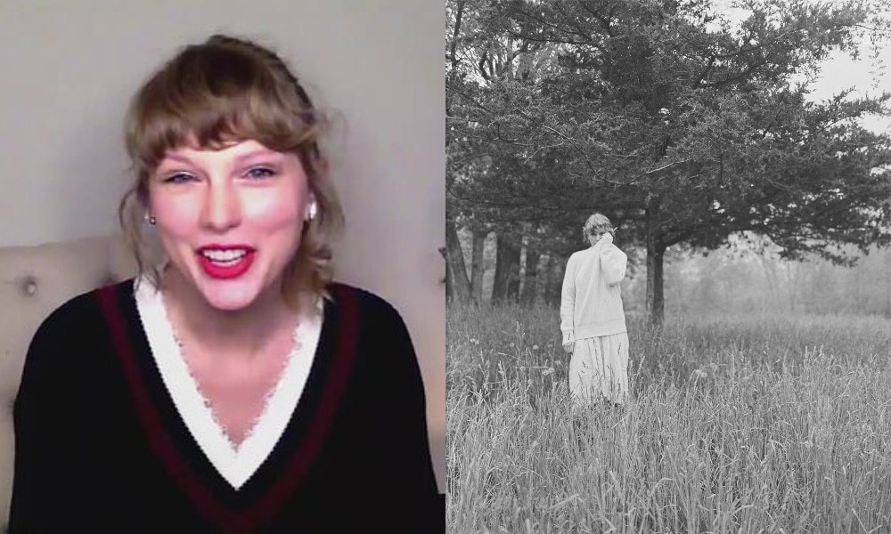 Taylor Swift smiling at the camera wearing a v-neck top and a black and white album cover of Taylor Swift wandering around the woods