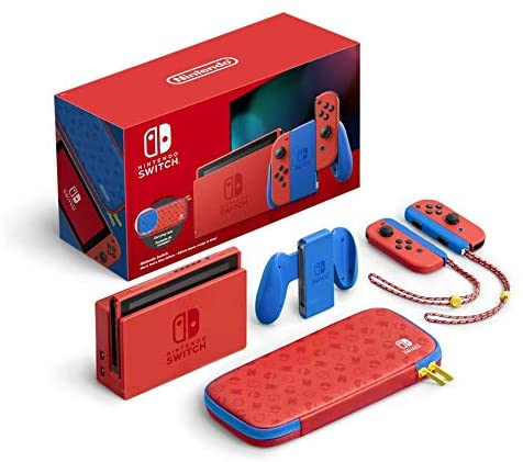 The Mario edition of the Nintendo Switch comes in blue and red. (Amazon/Nintendo)