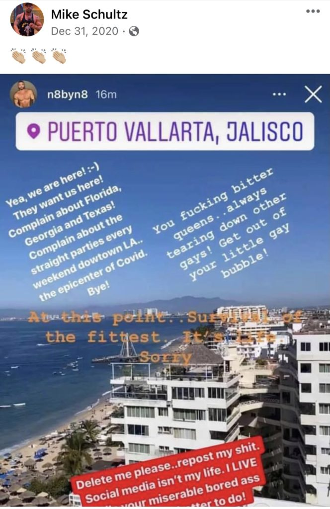 """Instagram story of a beach with text including """"f**king bitter queens... always tearing down other gays"""""""