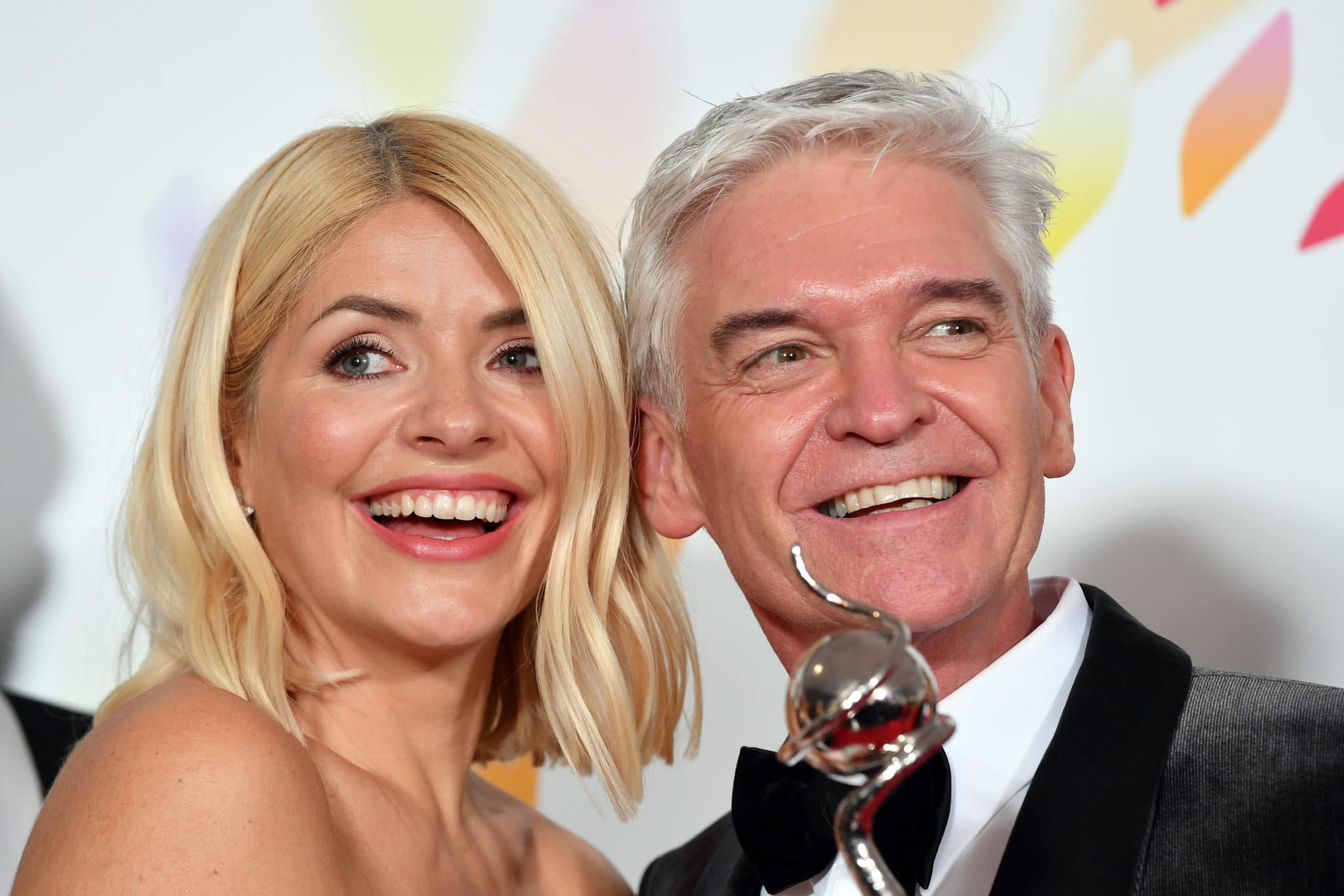 Holly Willoughby and Phillip Schofield pose with an award at the National Television Awards 2020