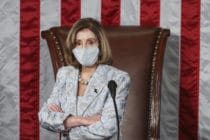 Speaker of the House Nancy Pelosi waits during votes in the first session of the 117th Congress