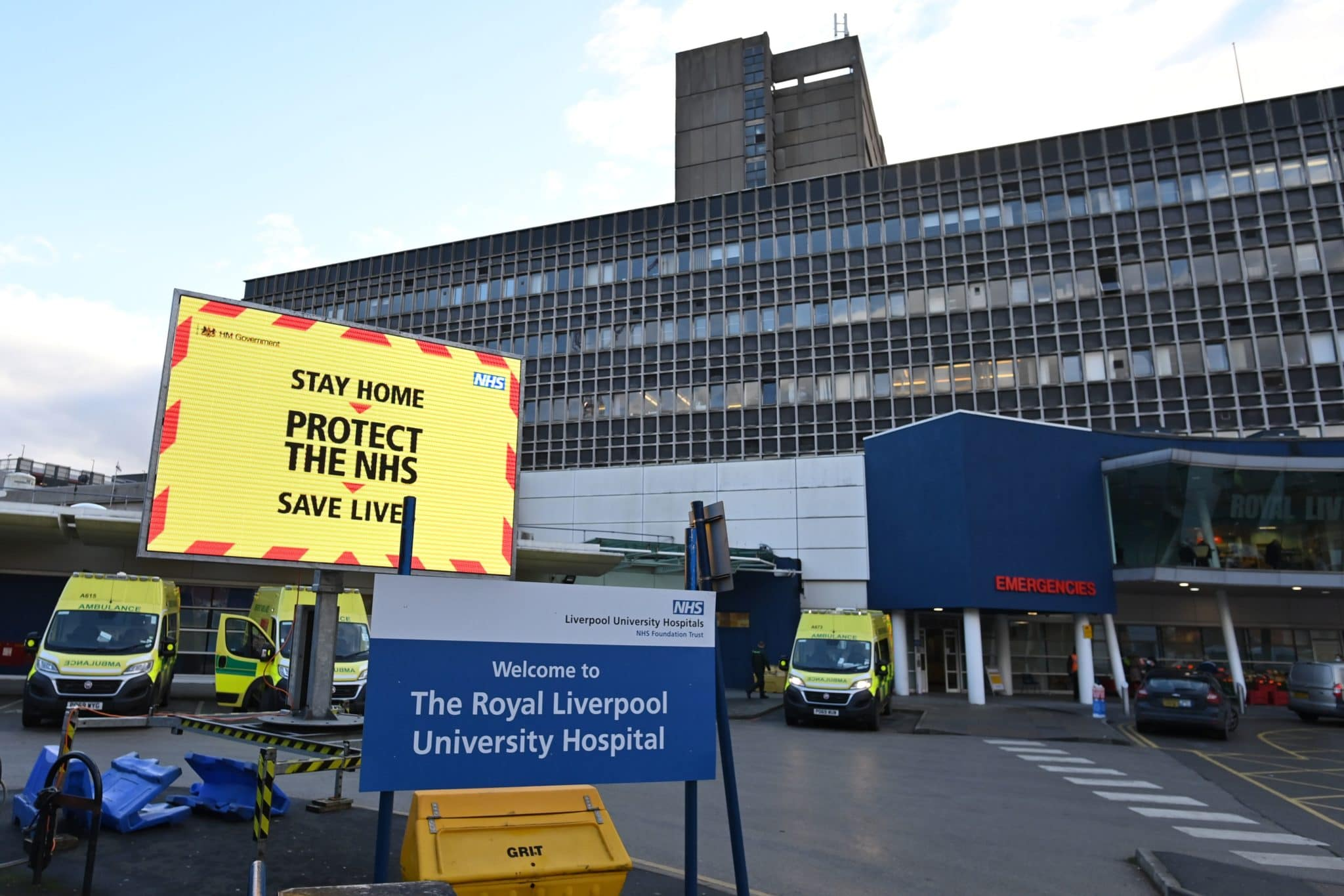 A Covid warning outside Royal Liverpool University hospital in Liverpool, north west England on January 5