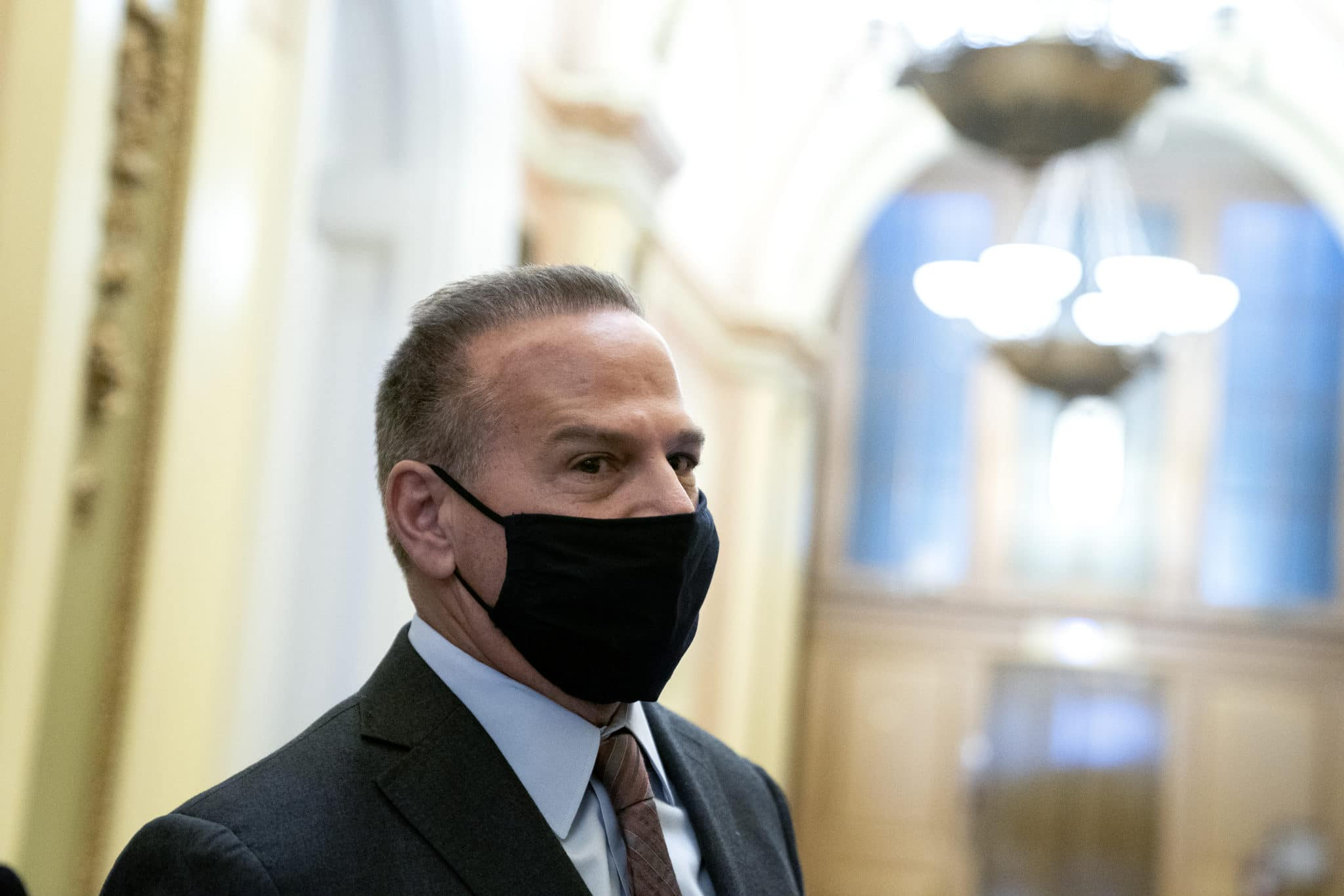 Trump impeachment: Rep. David Cicilline wears a protective mask while speaking to reporters at the US Capitol on January 11, 2021
