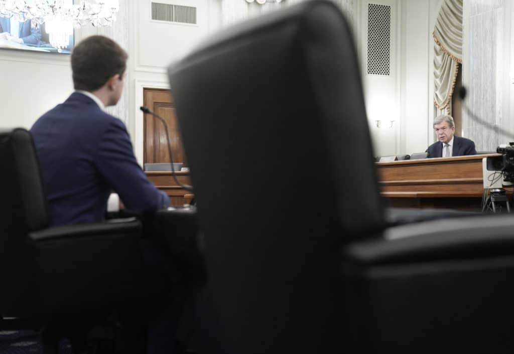 Senator Roy Blunt speaks during a Senate Commerce, Science, and Transportation committee hearing to examine the nomination of Pete Buttigieg to be Secretary of Transportation